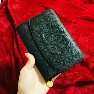 Authentic Chanel Large Caviar Leather Wallet